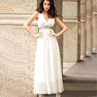 Acrylic Long Evening Dress Solid