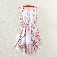 Chiffon One-piece Dress short front long back printed floral pink Size:Free Size