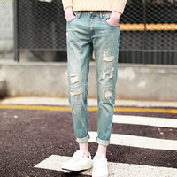 Denim Middle Waist Men Pencil Pants with Polyester frayed geometric light blue