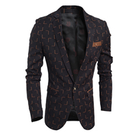 Polyester   Cotton Men Leisure Suit plaid black