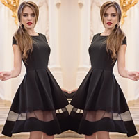 Polyester One-piece Dress transparent with Gauze patchwork black