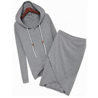 Cotton Women Casual Set sweatshirts   skirt Solid grey