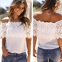 Chiffon   Lace Plus Size Short Sleeve Nightclub Top patchwork white