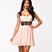 Chiffon   Lace One-piece Dress backless hollow   transparent patchwork pink Sold By PC