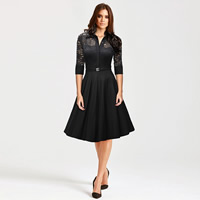 Cotton Autumn and Winter Dress, different size for choice & hollow, with Lace, Solid, more colors for choice, Sold By PC