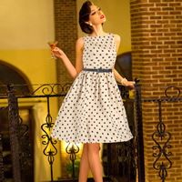 Polyester & Cotton One-piece Dress, different size for choice, printed, dot, more colors for choice, Sold By PC