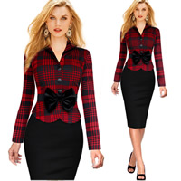 Polyester & Cotton Autumn and Winter Dress, different size for choice & false two piece, printed, plaid, more colors for choice, Sold By PC