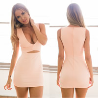 Cotton Sexy Package Hip Dresses hollow Solid pink Sold By PC