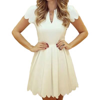 Spandex   Polyester Pleated One-piece Dress Solid