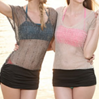 Gauze   Polyester Tankinis Set three piece   transparent   breathable   padded Solid Size:Free Size