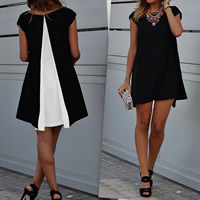 Chiffon One-piece Dress short front long back patchwork