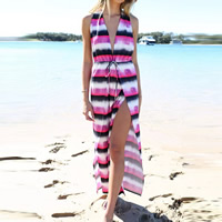 Polyester & Cotton Beach Dress backless printed striped fuchsia Sold By PC
