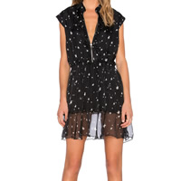 Chiffon One-piece Dress printed star pattern black Sold By PC
