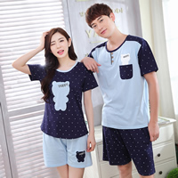Cotton Couple Summer Pajama Set, different size for choice & different styles for choice, printed, Cartoon, blue, Sold By Set