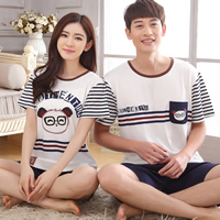 Cotton Couple Summer Pajama Set different styles for choice printed Cartoon white