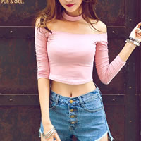 Polyester   Cotton Crop Top Long Sleeve Nightclub Top backless off shoulder with Cotton Solid