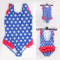 Nylon Girl Kids One-piece Swimsuit with Cotton printed star pattern blue Sold By PC