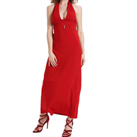 Polyester Long Evening Dress backless ankle-length Solid red Sold By PC