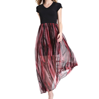 Imitation Silk & Cotton One-piece Dress, different size for choice & ankle-length, patchwork, black, Sold By PC