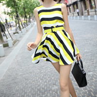 Hemp One-piece Dress, different size for choice & with belt, striped, more colors for choice, Sold By PC