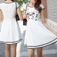 Chiffon One-piece Dress embroidered floral white Sold By PC