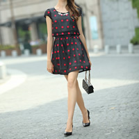 Organza One-piece Dress false two piece printed dot black Sold By PC