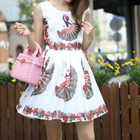 Chiffon One-piece Dress printed floral white Sold By PC
