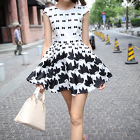 Polyester One-piece Dress, different size for choice, printed, bowknot pattern, more colors for choice, Sold By PC