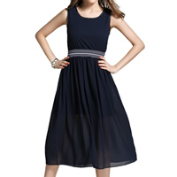 Chiffon One-piece Dress, different size for choice, patchwork, deep blue, Sold By PC