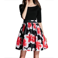 Organza & Knitted One-piece Dress printed floral black Sold By PC