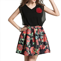 Chiffon & Cotton One-piece Dress, different size for choice, printed, floral, more colors for choice, Sold By PC