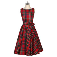 Cotton One-piece Dress, different size for choice, printed, plaid, red, Sold By PC