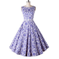 Polyester   Cotton Princess One-piece Dress printed geometric blue Sold By PC