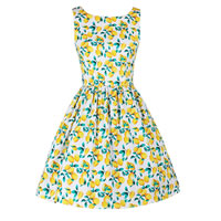 Polyester   Cotton One-piece Dress printed fruit pattern yellow