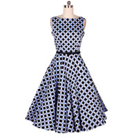 Cotton One-piece Dress, different size for choice, printed, dot, light blue, Sold By PC