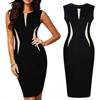 Polyester Sexy Package Hip Dresses patchwork black Sold By PC