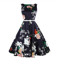 Cotton One-piece Dress printed floral black