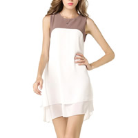 Chiffon One-piece Dress patchwork white Sold By PC