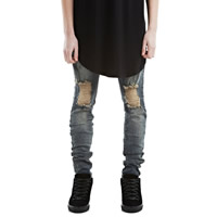 Acrylic   Cotton Men Jeans frayed Solid