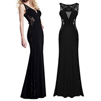 Polyester Long Evening Dress hollow with Lace patchwork black Sold By PC