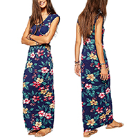 Polyester One-piece Dress ankle-length printed floral purple