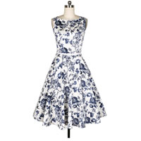 Polyester One-piece Dress with belt printed floral white
