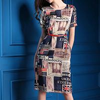 Polyester   Cotton One-piece Dress with belt printed letter blue Sold By PC