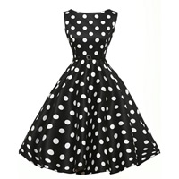Viscose Fiber & Polyester Ball Gown One-piece Dress with belt dot Sold By PC