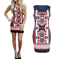 Polyester Sexy Package Hip Dresses, different size for choice, printed, geometric, Sold By PC