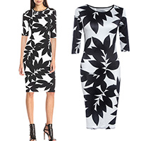 Polyester One-piece Dress, different size for choice, printed, leaf pattern, black, Sold By PC