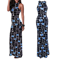 Polyester Long Evening Dress off shoulder & floor-length & hollow printed geometric black and blue Sold By PC