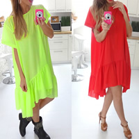 Chiffon Asymmetrical One-piece Dress, different size for choice, Solid, more colors for choice, Sold By PC