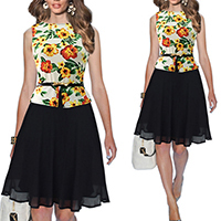 Chiffon One-piece Dress, different size for choice & false two piece, printed, patchwork, yellow, Sold By PC