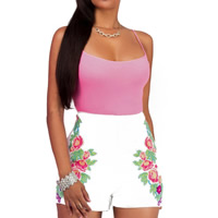Milk Silk Middle Waist Women Casual Set short   camis printed floral pink
